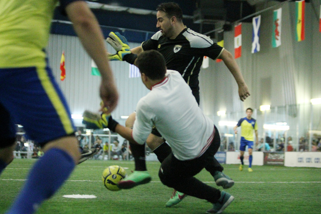 Las Vegas Legends Ivan Campos (24) looks for an open shot against Sacramento Surge in a MASL (Major Arena Soccer League) indoor soccer game at the Las Vegas Sports Park in Las Vegas Sunday, Feb. 2 ...