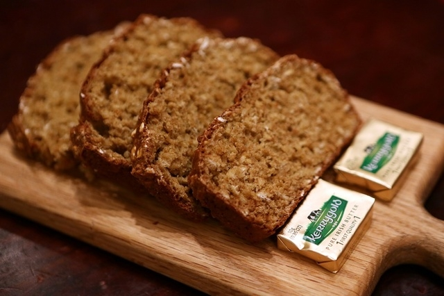 Slices of Irish soda bread and Kerrygold Pure Irish Butter are shown at Ri Ra Irish Pub at Mandalay Place Thursday, March 5, 2015, in Las Vegas. Loaves of the traditional Irish bread are made in-h ...