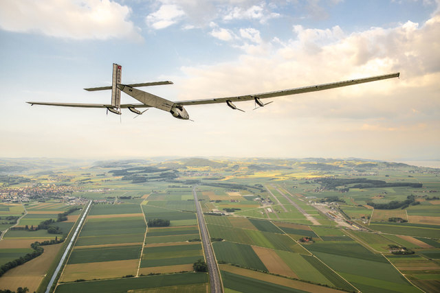 Solar Impulse 2, aiming to be the first solar plane in history to fly around the world, off from Abu Dhabi on Monday, March 9, 2015. (Solar Impulse/CNN)
