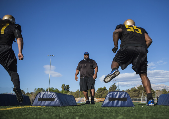 Las Vegas Arena Football League Outlaws assistant head coach Corey Mayfield  during practice at Summerlin Soccer Complex, 1400 North Rampart Boulevard on Thursday, March 12, 2015. The team will ki ...