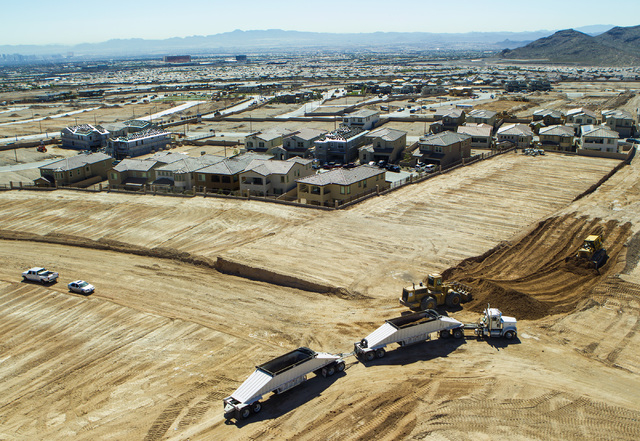 Construction on The Paseos in Summerlin is seen Friday, March 27, 2015. The mastered-planned community on the western edge of Las Vegas was launched 25 years ago. (Jeff Scheid/Las Vegas Review-Jou ...