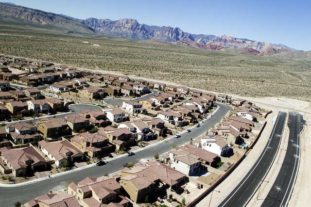The Paseos in Summerlin with Spring Mountain in the background is seen Friday, March 27, 2015.  The mastered-planned community on the western edge of Las Vegas was launched 25 years ago. (Jeff Sch ...