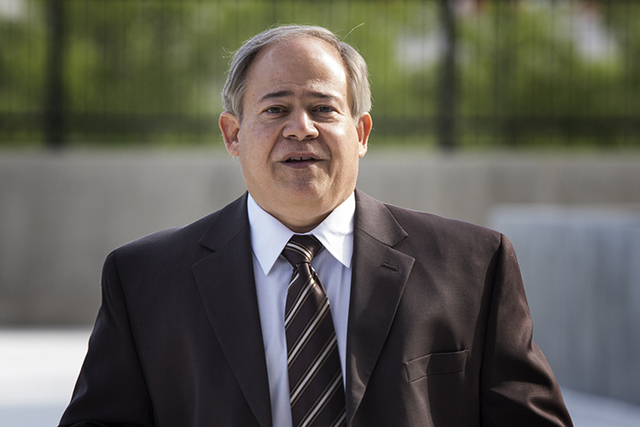 Alan Rodrigues, former general manager of National Audit Defense Network, arrives for opening statements in the tax fraud trial on Wednesday, April 16, 2014. (Jeff Scheid/Las Vegas Review-Journal)