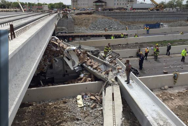One person was killed and several others were injured when a truck hit a support beam on a highway bridge under construction above Interstate 35 in central Texas. (Courtesy/Twitter @kwtx)