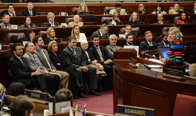 Rep. Dina Titus, D-Nev., talks about the importance of constructing Interstate 11, and encouraging commercial drone testing efforts in remarks Wednesday, March 11, to the Nevada Legislature. Gover ...