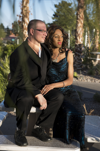Jazmynne Young, right, and her fiance, Mark Matthews, pose for prewedding photos at The Gay and Lesbian Center in Las Vegas on Saturday, Mar. 7, 2015. The Gay and Lesbian Center will host the firs ...
