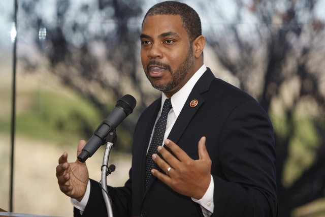 U.S. Rep. Steven Horsford, D-Nev., speaks during an event to celebrate the passage of legislation by Congress that designates Tule Springs as Nevada's only national monument at the Las Vegas Pai ...