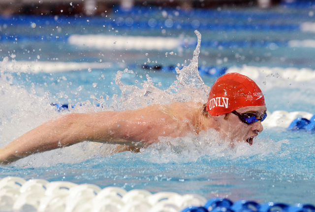 Dillon Virva swims the butterfly leg in the 200 meter medley relay preliminaries at the 2014 NCAA Championships. (Courtesy)