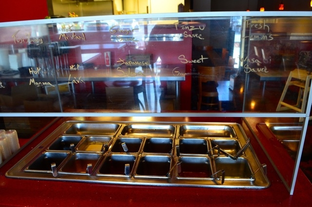 Patrons can have their pick of condiments at the Volcano Grille sauce bar. (Shannon Mikkelsen/Special to View)