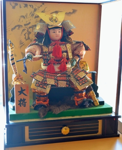 A tiny samurai decorates the dining room at Volcano Grille. (Shannon Mikkelsen/Special to View)
