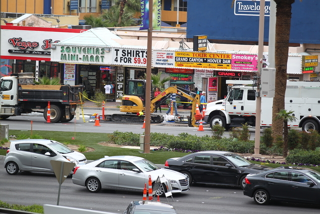 A water main break on the Las Vegas Strip, between Harmon and Tropicana avenues, has shut down two northbound lanes of traffic Wednesday morning, March 11, 2015.  (Chase Stevens/Las Vegas Review-J ...