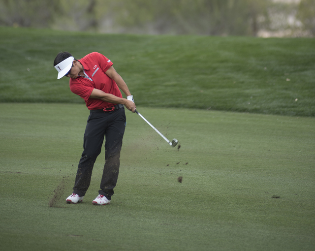 Kurt Kitayama of UNLV swings for a shot during the Southern Highlands Collegiate Masters Golf Tournament held at the Southern Highlands Golf Club in Las Vegas on Wednesday, March 11, 2015. (Martin ...