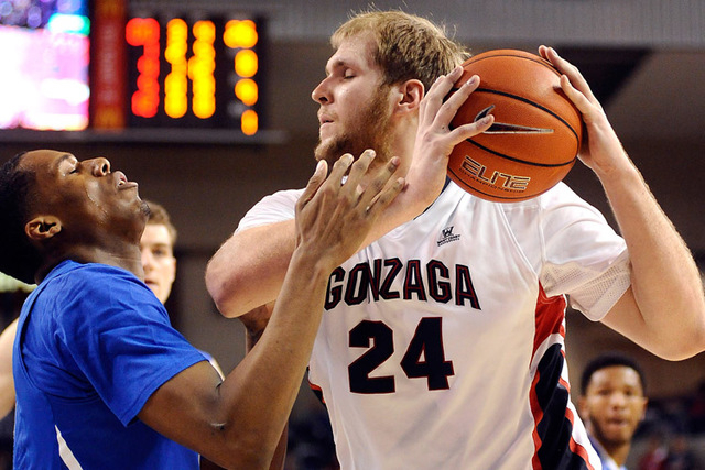 Jan 31, 2015; Spokane, WA, USA; Gonzaga Bulldogs center Przemek Karnowski (24) drives against Memphis Tigers guard Nick King (5) during the second half at McCarthey Athletic Center. The Bulldogs w ...