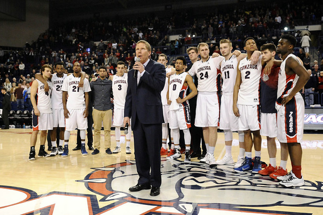 Feb 28, 2015; Spokane, WA, USA; Gonzaga Bulldogs head coach Mark Few speaks to the crowd after a game against the Brigham Young Cougars at McCarthey Athletic Center. Mandatory Credit: James Snook- ...
