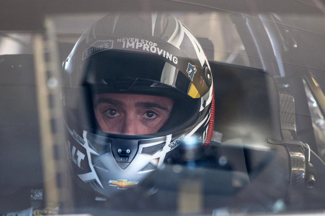Mar 6, 2015; Las Vegas, NV, USA; Sprint Cup Series driver Jimmie Johnson (48) during practice for the Kobalt 400 at Las Vegas Motor Speedway. Mandatory Credit: Jerome Miron-USA TODAY Sports