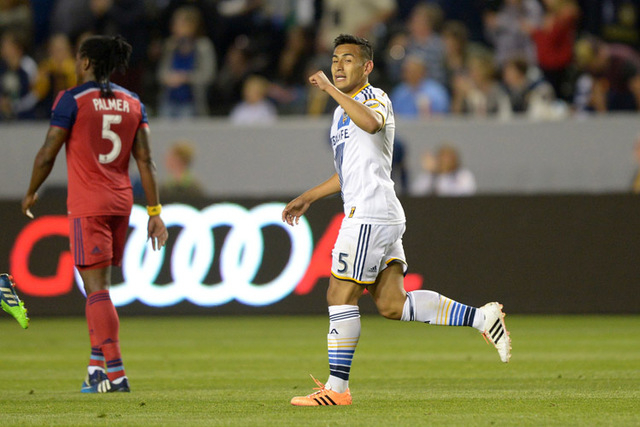 Mar 6, 2015; Carson, CA, USA; Los Angeles Galaxy midfielder Jose Villarreal (5) celebrates after scoring a goal in the second half against the Chicago Fire at StubHub Center. The Galaxy defeated t ...