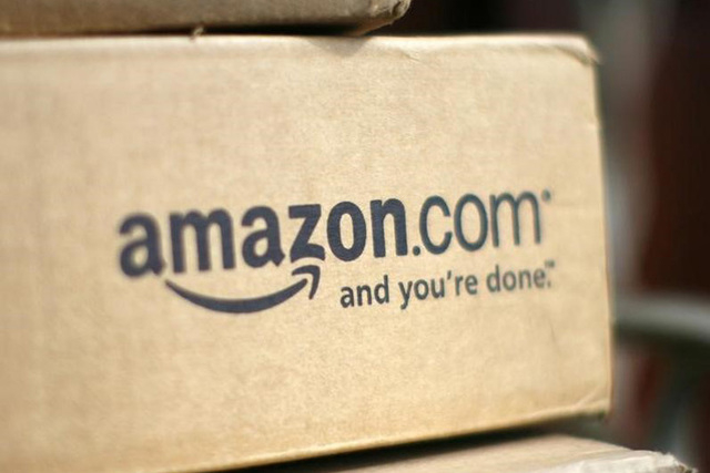 A box from Amazon.com is pictured on the porch of a house in Golden, Colorado in this file photo taken on July 23, 2008. (REUTERS/Rick Wilking)