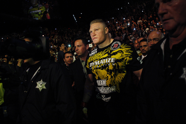 Brock Lesnar heads towards the octagon to take on Alistair Overeem during UFC 141 in the MGM Grand Garden Arena in Las Vegas on Dec. 30, 2011. (JASON BEAN/LAS VEGAS REVIEW-JOURNAL)