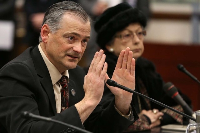 Nevada Sen. James Settelmeyer, R-Minden, presents a bill in committee to change Nevada's overtime law at the Legislative Building in Carson City, Nev., on Wednesday, March 4, 2015. The proposal wo ...