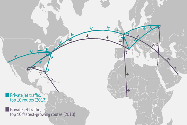 This map depicts the top 10 private jet routes and top 10 fastest-growing private jet routes, as of 2013. (CNN)
