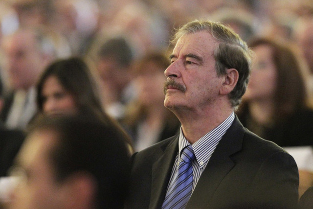 Former President of Mexico Vicente Fox attends a religious service of the late Lorenzo Zambrano in San Pedro Garza Garcia, on the outskirts of Monterrey, May 14, 2014. (Reuters/Daniel Becerril)