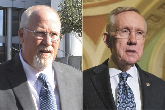 Harvey Whittemore, left, and U.S. Sen. Harry Reid, D-Nev., are shown in file photos.