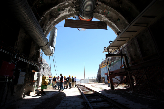 Members of the House Energy and Commerce Subcommittee on Environment and Economy and staffers go on a tour of Yucca Mountain in a rare field trip of the shuttered nuclear waste site on Apr. 26, 20 ...