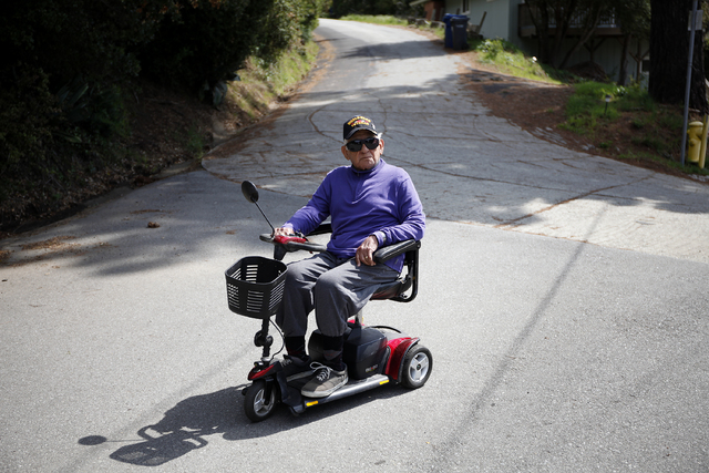 Guadalupe Olvera rides his scooter near his home in Aptos, Calif., March 27, 2014. (John Locher/Las Vegas Review-Journal file)