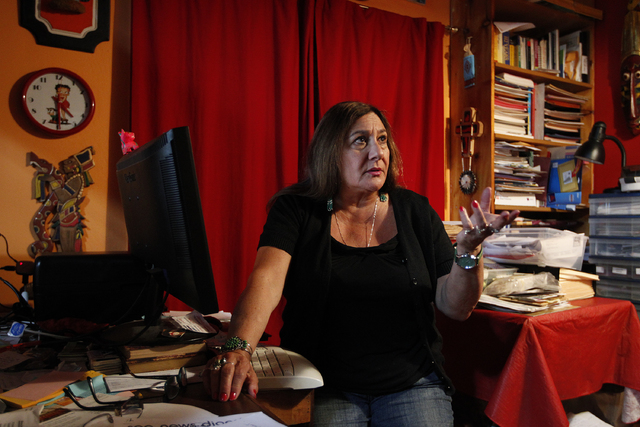 Rebecca Shultz, daughter of Guadalupe Olvera, sits in her office at her home in Aptos, Calif., March 27, 2014. (John Locher/Las Vegas Review-Journal file)