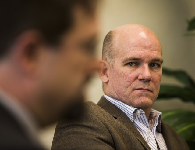Clark County Family Court Judge Judge Charles Hoskin, right, listens while court commissioner Jon Norheim speaks during an interview at Clark County Family Court on Friday March 13, 2015. Private  ...
