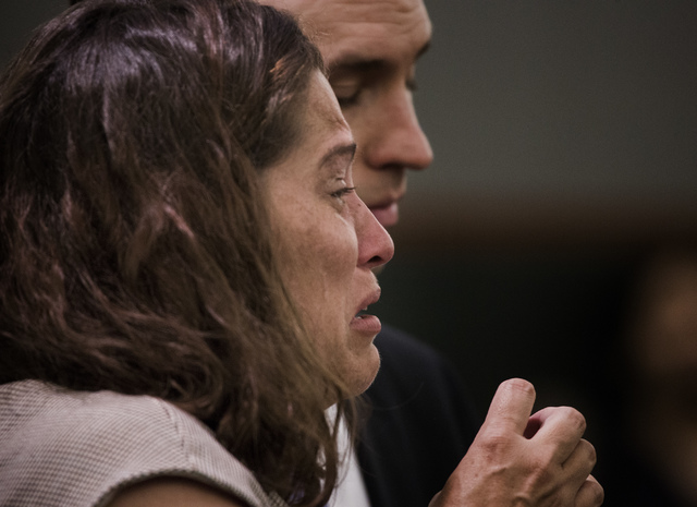 Patience Bristol cries during her sentencing at Regional Justice Center on Wednesday, May 28, 2014. Bristol pleaded guilty to exploitation of an elderly/vulnerable person and will serve three to e ...