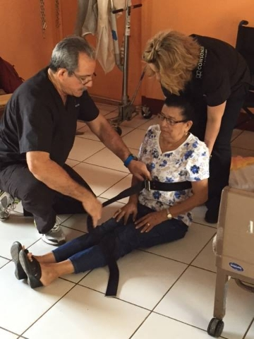 Centennial Hills resident and certified nursing assistant Gonzalo Perez demonstrates nursing techniques for a training video for workers at a nursing home in Jinotepe, Nicaragua, Jan. 2015. The Vi ...