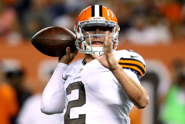 Cleveland Browns quarterback Johnny Manziel (2) throws against the Chicago Bears during the second quarter at FirstEnergy Stadium on Aug 28, 2014. (Ron Schwane-USA TODAY Sports)
