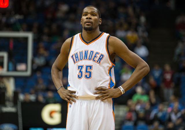 Dec 12, 2014; Minneapolis, MN, USA; Oklahoma City Thunder forward Kevin Durant (35) looks on during the fourth quarter against the Minnesota Timberwolves at Target Center. The Thunder defeated the ...