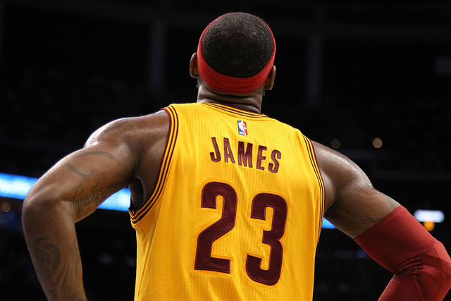 Dec 26, 2014; Orlando, FL, USA; Cleveland Cavaliers forward LeBron James (23) looks up during the second half against the Orlando Magic at Amway Center. Cleveland Cavaliers defeated the Orlando Ma ...