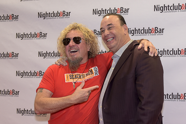 "Singer Sammy Hagar, left, and Nightclub & Bar Media Group President, host and Co-Executive Producer of the Spike television show ""Bar Rescue,"" Jon Taffer clown on the red carpet as they  ..."