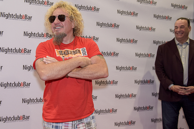 """Singer Sammy Hagar, left, and Nightclub & Bar Media Group President, host and Co-Executive Producer of the Spike television show """"Bar Rescue,"""" Jon Taffer clown on the red carpet as they  ..."""