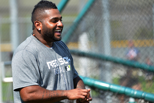 Feb 24, 2015; Ft. Myers, FL, USA; Boston Red Sox third baseman Pablo Sandoval (48) laughs before batting practice at JetBlue Park. (Steve Mitchell-USA TODAY Sports)