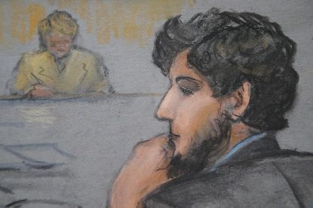 A courtroom sketch shows Boston Marathon bombing suspect Dzhokhar Tsarnaev, right, during the jury selection process in his trial at the federal courthouse in Boston on Jan. 15, 2015. (Reuters/Jan ...