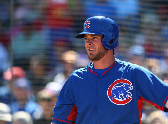 Mar 10, 2015; Goodyear, AZ, USA; Chicago Cubs third baseman Kris Bryant against the Cleveland Indians during a spring training baseball game at Goodyear Ballpark. (Mark J. Rebilas-USA TODAY Sports)