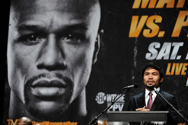 Manny Pacquiao during a press conference to announce his fight with Floyd Mayweather fight on May 2, 2015 at Los Angeles. Robert Hanashiro-USA TODAY Sports