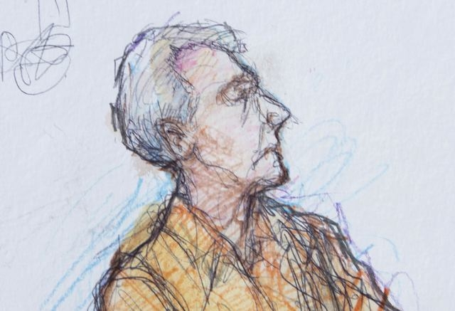 An artist sketch shows Robert Durst in a holding area of a courthouse before his extradition hearing in New Orleans, Monday, March 16, 2015. Durst, scion of one of New York's largest real estate e ...