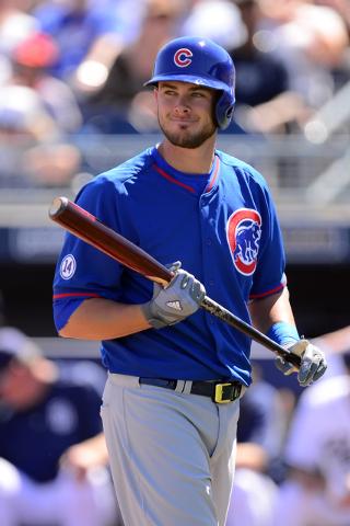 Mar 16, 2015; Peoria, AZ, USA; Chicago Cubs third baseman Kris Bryant (76) bats against the San Diego Padres at Peoria Sports Complex. (Joe Camporeale-USA TODAY Sports)