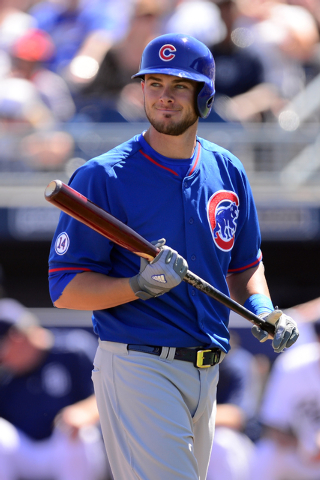 Mar 16, 2015; Peoria, AZ, USA; Chicago Cubs third baseman Kris Bryant (76) bats against the San Diego Padres at Peoria Sports Complex. (Joe Camporeale-USA TODAY Sports)
