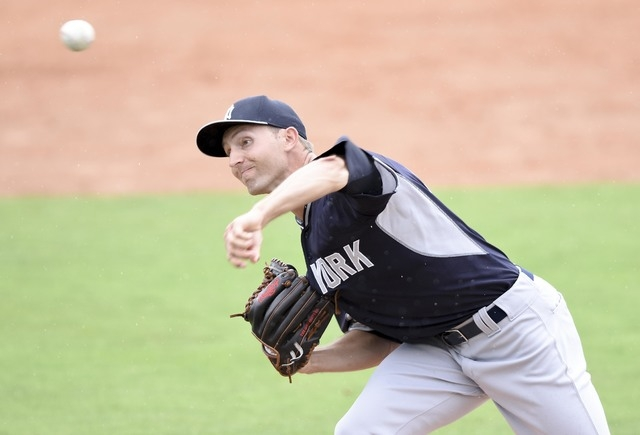 New York Yankees relief pitcher Chasen Shreve (64) throws against the Washington Nationals at Space Coast Stadium on March 23, 2015. (Brad Barr-USA TODAY Sports)