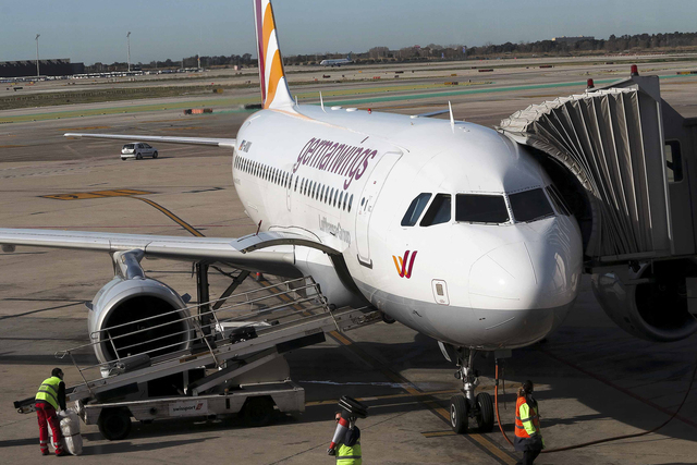 A Germanwings flight is seen before departure at Barcelona's El Prat airport March 27, 2015. (REUTERS/Albert Gea)