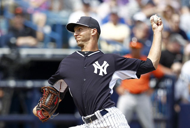 New York Yankees relief pitcher Chasen Shreve (64) throws a pitch during the fourth inning of a spring training baseball game against the Baltimore Orioles at George M. Steinbrenner Field on March ...