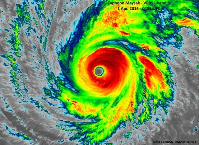 Super Typhoon Maysak is seen as it heads west-northwestward through the western Pacific Ocean in this infrared image taken by the Suomi NPP satellite's VIIRS instrument, April 1, 2015. The storm h ...