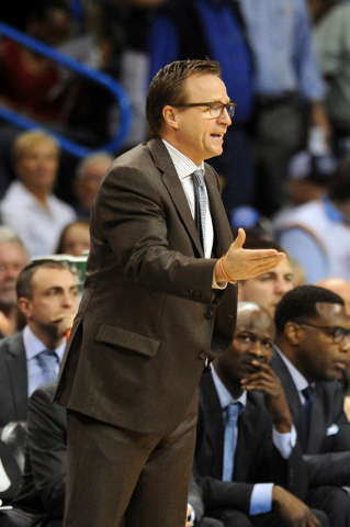 Apr 1, 2015; Oklahoma City, OK, USA; Oklahoma City Thunder head coach Scott Brooks reacts to a play in action against the Dallas Mavericks during the fourth quarter at Chesapeake Energy Arena. (Ma ...