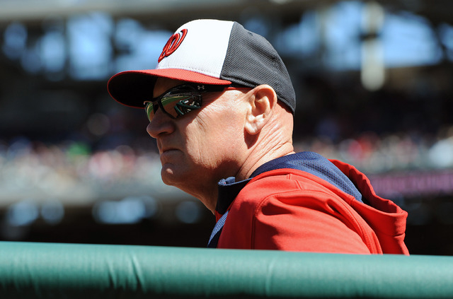 Washington Nationals manager Matt Williams in the dugout against the New York Yankees during the third inning at Nationals Park in Washington, D.C., April 4, 2015. (Brad Mills-USA TODAY Sports)